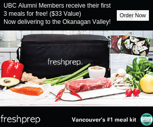 Fresh Prep. UBC alumni receive their first 3 meals for free! ($33 value). Now delivering to the Okanagan Valley! Order now.