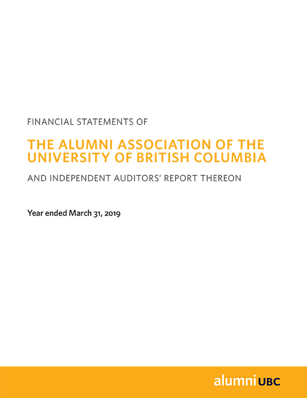 alumni UBC 2018-19 Financial Statements