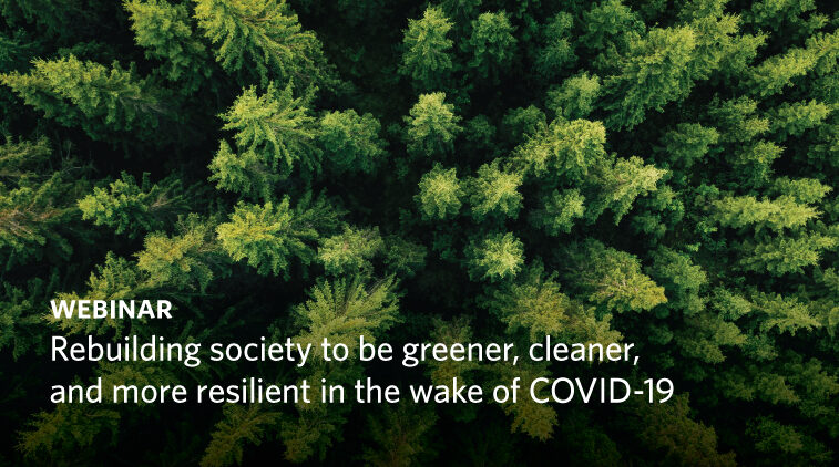Rebuilding society to be greener, cleaner, and more resilient in the wake of COVID-19
