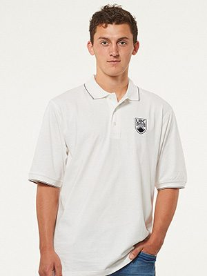 UBC white polo shirt
