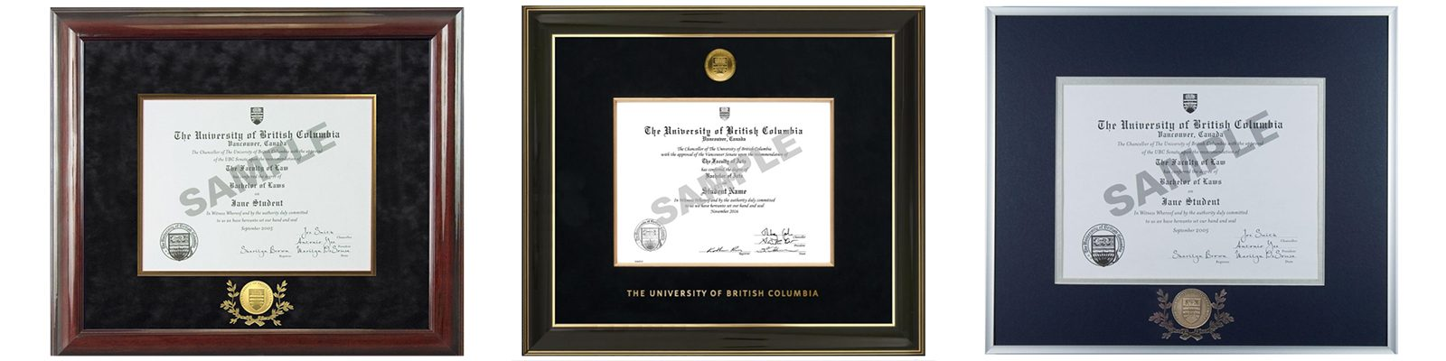 UBC degree frames