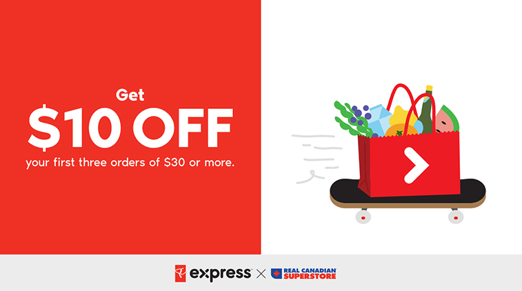 PC Express - Get $10 off your first three orders of $30 or more.